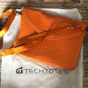 Handbags - Orange ostrich like leather computer bag tote
